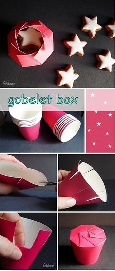 This is such a cute idea for little takeout boxes. Just get a paper cup, cut off, the rim, cut one-inch section down the cup, fold and close!