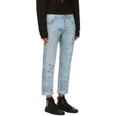 Gucci for Men Collection Mom Jeans, Skinny Jeans, Gucci Outfits, Street Wear, Denim, Pants, Scribble, Blue, Jeans