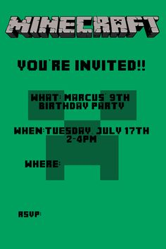 Minecraft Birthday Invite for Marcus' Party!! :-D