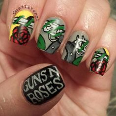 Guns N' Roses  by nailstorm1 #nail #nails #nailart. In love with this...one of my favorite bands ❤️