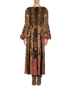 B3WH5 Etro Leopard & Paisley Long-Sleeve Gown