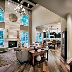 Featured Community: Regency at Palisades, North Carolina : The Palestra Living Room High Ceiling Living Room, Living Room With Fireplace, Living Room Lighting, Living Room Kitchen, Living Room Interior, Home Living Room, Living Room Designs, Living Room Decor, Fireplace Wall
