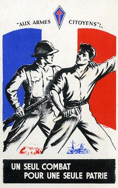 Framed - Patriotic postcard - Free French Army-Framed Print made in the USA
