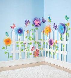Create a Garden Room Picket Fence-garden theme bedrooms easy to do: Bedroom Themes, Kids Bedroom, Girls Fairy Bedroom, Bedroom Decor, Trendy Bedroom, Kids Rooms, Floral Bedroom, Floral Bedding, Bedroom Murals