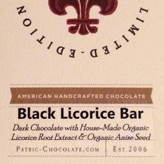 cacao ‏- Limited Edition Patric Chocolate Black Licorice Chocolate is back for a short time. It's still brilliant!