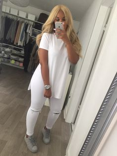 2017 Sexy Side Splits Hem Long Blouse Shirt Short Sleeve Loose Tops Casual Lady Solid Cotton Camisa China Cheap Women Clothing W Fashion Moda, Look Fashion, Autumn Fashion, Womens Fashion, Fashion Design, Ladies Fashion, Feminine Fashion, Dope Outfits, Casual Outfits