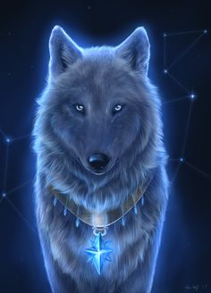 """Art: """"Star Wolf"""" by SnowWolfMystic. Although I have spent most of my working life in education teaching with a strong emphasis on history, my other love is art, unfortunately I posses no aptitude for art fortunately these artists do! - look, enjoy and learn! Linda ( Educational director of http://www.siteseen.info )."""