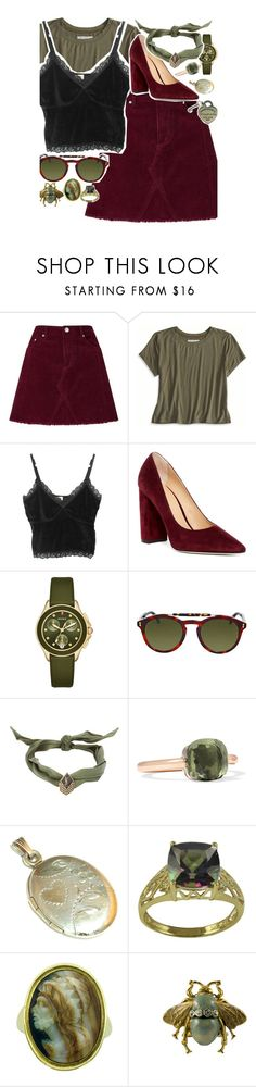 """""""•forest green, I'm stuck in the internal greenery•"""" by little-darlin ❤ liked on Polyvore featuring Miss Selfridge, American Eagle Outfitters, Pour La Victoire, Michele, Gucci, Yves Saint Laurent, Pomellato, PearLustre by Imperial and Tiffany & Co."""