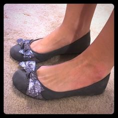 Grey suede flats with sparkly bow Great condition/like new. Size 6.5-7 Shoes Flats & Loafers