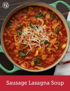 One of our favorite Italian dinners gets a fuss-free redo in this Sausage Lasagna Soup. Chopped onions, fresh mushrooms, diced tomatoes, spinach, garlic and shredded Parmesan get mixed with lasagna for an easy dinner – no oven required! Serving tip: This soup tastes delicious with a side of freshly baked French bread.