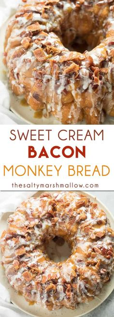 Sweet Cream Bacon Monkey Bread - a classic pull apart breakfast or dessert favorite with the tastiest twist! This monkey bread is packed full of bacon and has a sweet cream glaze, the perfect salty/sweet combination! Mini Desserts, Easy Desserts, Delicious Desserts, Desserts With Bacon, Bacon Appetizers, Keto Desserts, Sweet Desserts, Yummy Food, Oreo Dessert