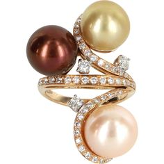 Ruby Lane Red Tag 30% Off Sale! - Cultured South Sea Tahitian Pearl Diamond 18 Karat Rose Gold Vintage Ring Fine Estate Jewelry