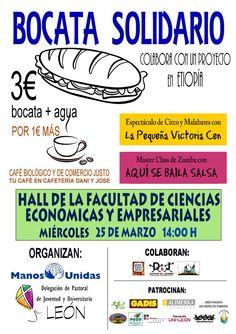 Bocata solidario. 25 de marzo a las 14:00 h. Hall de la Facultad de Ciencias Económicas y Empresariales