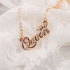 Fashion Gold Letter Queen Pendant Rhinestone Clavicle Shiny Chain Necklace Hs #ebay #Fashion