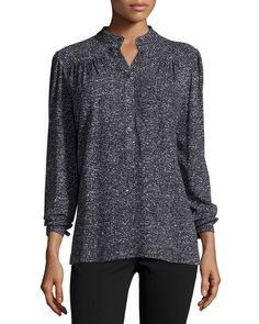 Long-Sleeve Metallic Blouse, Black, Size: 10 - Michael Kors Collection