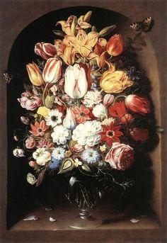 Bouquet in a Niche by Osias Beert - Canvas Art Print Art Floral, Renaissance, Baroque Painting, Baroque Art, Bouquet, Old Paintings, Flower Paintings, Art Google, Canvas Art Prints