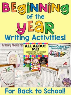 All About Me - 24 Beginning of the Year Writing Activities for Back to School. A great way to get to know your students at the beginning of the year. Plus these writing templates make great bulletin board displays! (Available for K-2 and 3-6.)