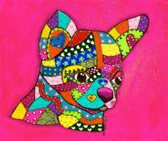 Chihuahua en acrilico sobre lienzo