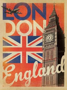 Big Ben in London, England retro poster