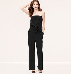 """Finished with a wide tie, this strapless piece is a surefire head-turner. Strapless. Elasticized neckline and waist. Removable self ties at waist. Slash pockets. 33 1/2"""" inseam."""