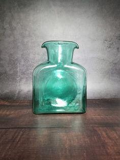 Blenko 384 Double Spout Water Bottle/Pitcher in Sea Green with Sandblasted Mark, Mid Century Hornsea Pottery, Blenko Glass, Carafe, Fleas, Cookware, Painting On Wood, Glass Art, Water Bottle, Mid Century