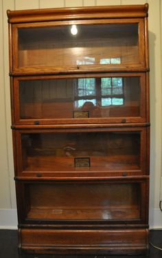 Gorgeous Antique Oak Globe Wernicke 4 Stack Barrister Bookcase w/Labels ~ Classic Antique Oak Furniture ~ BFD