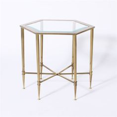 Pair of small brass Mastercraft side tables with glass tops, c. 1970