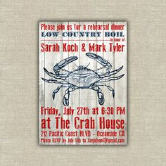 crab boil seafood party rehearsal dinner invitation