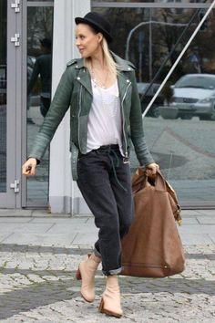 MODA POLSKA wg ms (IV) Street Look, Polish, Leather Jacket, Womens Fashion, Jackets, Style, Studded Leather Jacket, Down Jackets, Swag