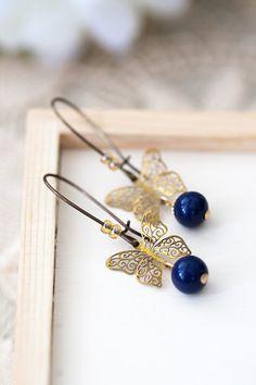 Butterfly Earrings Dark Blue Earrings Mother's Day от MeMadeJewels