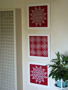 Perfect use for Grandma's old doilies. Maybe on blue paper they would look like snowflakes? Perfect use for Grandma's old doilies. Maybe on blue paper they would look like snowflakes? Framed Doilies, Lace Doilies, Crochet Doilies, Crochet Flowers, Doilies Crafts, Fabric Crafts, Diy Crafts, Diy Halloween Baby, Crochet Wall Art