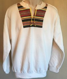 Southwest Sweatshirt Stripe Applique Yoke Collar Adult Medium Natural Off White Hanes Brand by AlwaysInStitchesCo on Etsy