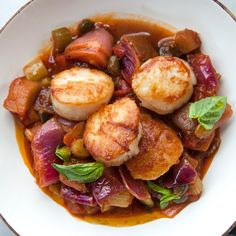 Caponata can be eaten on its own or served alongside meat or fish. Wine Recipes, Seafood Recipes, Cooking Recipes, Seafood Meals, Shellfish Recipes, Healthy Recipes, Seafood Paella, Fish And Seafood, Seafood
