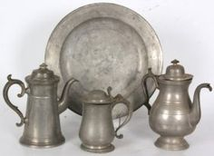 4 Pcs. Antique Pewter