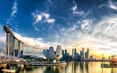 Download wallpapers Singapore, 4k, panorama, Marina Bay, sunset, skyscrapers, Asia