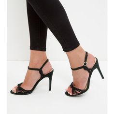 New Look Black Suedette Knot Strappy Heeled Sandals (£23) ❤ liked on Polyvore featuring shoes, sandals, black, black high heel sandals, strap heel sandals, black ankle strap sandals, black high heel shoes and strap sandals
