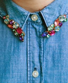 This jeweled collar is totally DIY.