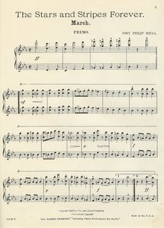 """""""The Stars and Stripes Forever"""" sheet music ~ by John Philip Sousa ~ print & frame for the John Philip Sousa, Independence Day July 4, Sheet Music, Stripes, Stars, Inauguration 2017, Printables, July 4th, Moth"""
