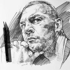 A #sketch of @jamiemoore777 in the #sketchbook #drawing #artfido #artofdrawingg #artcollective #worldofartists #worldofpencils #sketchoftheday #dibujo #✏️ #blvart #artnerd2017  #nawden #pencilportrait #instaart #crosshatching #duende_arts_help #arts_gate #JamieMoore