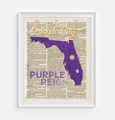 Orlando City Lions soccer inspired Art Print on old Dictionary Pages, Unframed