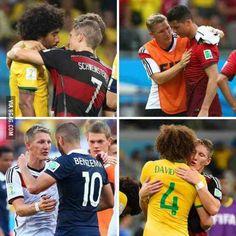 Bastian Schweinsteiger encourging his beaten opponents