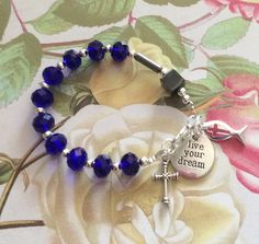 First Communion Boy Rosary Bracelet Baptism Gift Blue