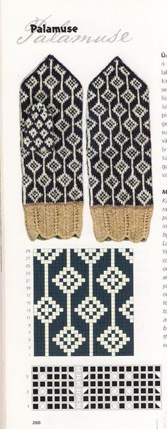 Knitting Patterns Mittens Several pages with mitten patterns from an unknown m … Knitted Mittens Pattern, Knit Mittens, Knitted Gloves, Knitting Socks, Hand Knitting, Knitting Charts, Knitting Stitches, Knitting Patterns, Knit Stranded
