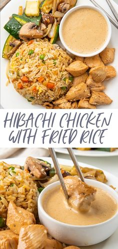 This recipe is a full hibachi chicken dinner at home! With restaurant-style sautéed veggies, fried rice, and super tender chicken, this hibachi recipe is served with a spicy mustard dipping sauce that really transports you to the Japanese steakhouse! Restaurant Diner, Rice Recipes, Chicken Recipes, Apple Recipes, Potato Recipes, Vegetable Recipes, Beef Recipes, Hibachi Recipes, Hibachi Chicken