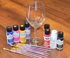 Painted Wine Glass DIY supplies- use Craft Enamels Acrylic Paint                                                                                                                                                                                 More