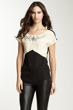Rampage Short Sleeve Colorblock Blouse by Blowout on @HauteLook