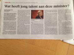 Uit de Volkskrant: extra geld voor talentontwikkeling. (2/2)