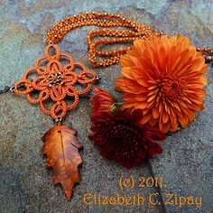 """Elizabeth's Lace: Fall (Rosemarie Peel's small Celtic motif from """"Tatting for Pleasure,"""" with beads)"""