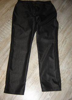 Brax Damenhose, Jeansschnitt, 46, dunkelgrau/anthrazit, glänzender Stoff