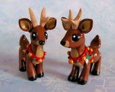 christmas reindeer figurines by dragons and beasties